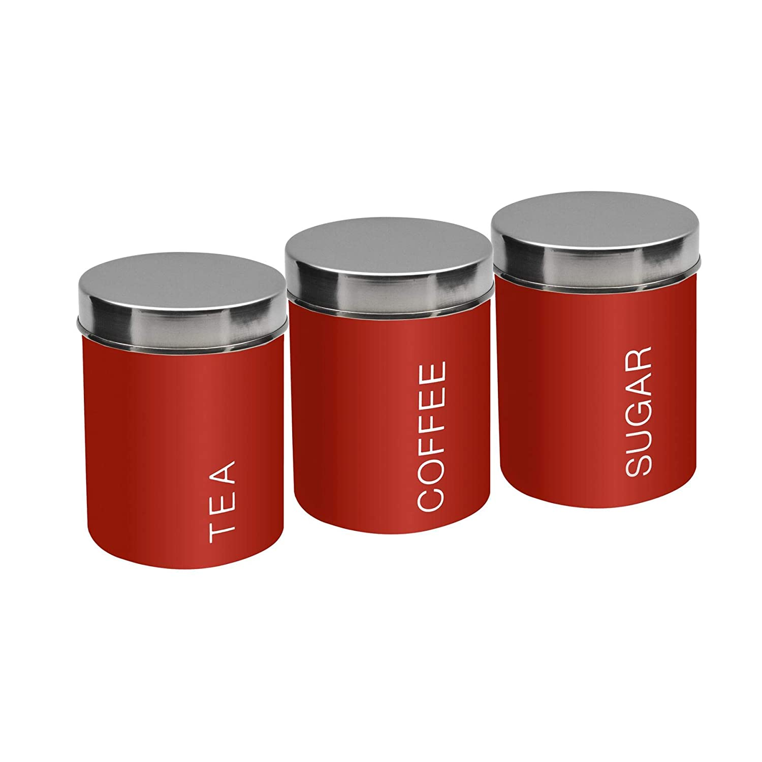 Harbour Housewares Metal Tea Coffee Sugar Canisters Set of 3 - Red - 95mm x 130mm