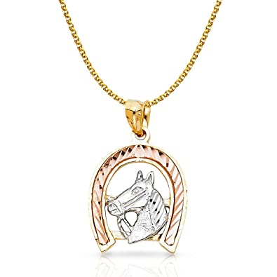 14K Yellow Gold Puppy Charm Pendant with 1.7mm Flat Open Wheat Chain Necklace