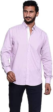 قميص قطن سادة باكمام طويلة وياقة مثبتة بازرار من الاسفل للرجال من بيلا دونا