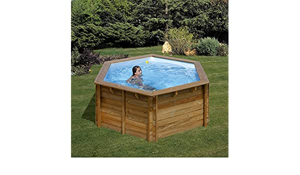Piscina de madera GRE redonda Lili Wooden Pool GRE 790080: Amazon ...