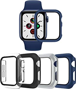 4 Pack Hard Cases for Apple Watch Series 3 Series 2, Full Coverage Bumper with Ultra-Thin Scratch Resistant HD Tempered Glass Screen Protector Compatible with iWatch 42mm