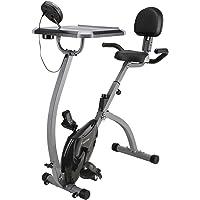 Finether Vélo d'Appartement Pliant Magnétique Bike Vélo de Fitness Écran LCD, Capteur de Pouls, 8 Niveaux de Résistance, Siège Réglable avec Bandes de Résistance Capacité 100 Kg