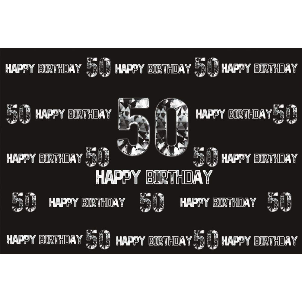 Cassisy 1,5x1m Vinilo Cumpleaños Telon de Fondo 50 Feliz CUMPLEAÑOS Bandera Carta de Plata Muro Negro Fondos para Fotografia Party Infantil Photo ...