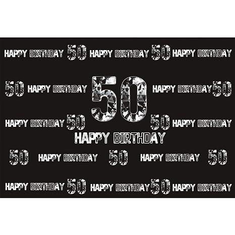 Cassisy 2,2x1,5m Vinilo Cumpleaños Telon de Fondo 50 Feliz CUMPLEAÑOS Bandera Carta de Plata Muro Negro Fondos para Fotografia Party Infantil Photo ...