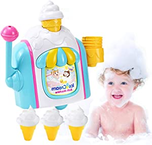 Lorchwise Kid Bath Toy,Foam Maker Cone Factory Bathtub,Ice Cream Shop Bubble Machine,4 Small Ice Cream Cups,Kids Water Play Suitable for Toddlers Girls Boys