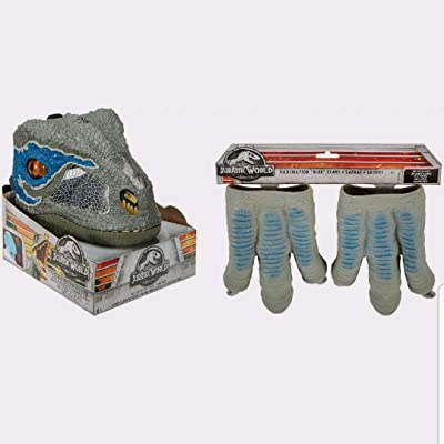 New Jurassic World Velociraptor Blue Chomp 'N Roar Mask Open Jaw Slowly and It Growls and Then Hisses Ages 6+ & Velociraptor Blue Claws One Size Fits Most! Ages 3+ New: Toys & Games