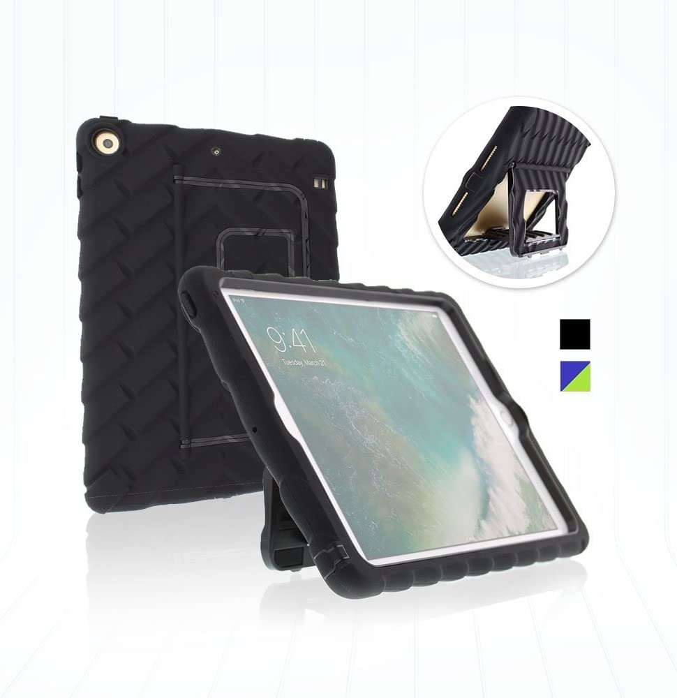 Gumdrop Hideaway Case with Kickstand for the Apple iPad 9.7 (6th and 5th Gen) Tablet for K-12 Students, Teachers and Kids - Black, Shock Absorbing, Rugged, Extreme Drop Protection