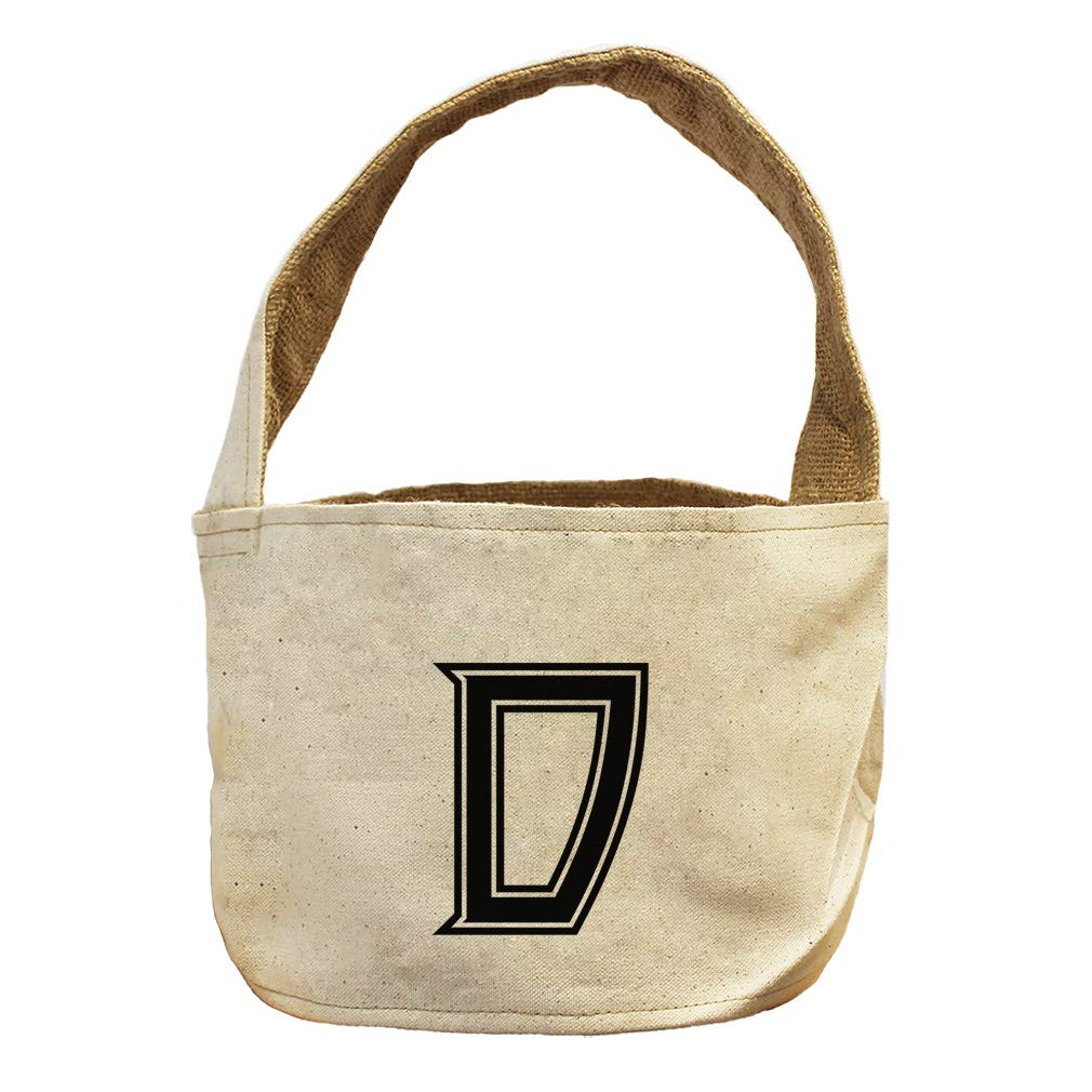 Style in Print D College Font Monogram Letter D Canvas and Burlap Storage Basket