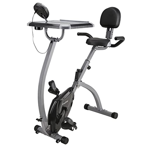 Finether Vélo d'Appartement Pliant Magnétique Bike Vélo de Fitness Écran LCD, Capteur de Pouls, 8 Niveaux de Résistance, Siège Réglable avec Bandes de Résistance Capacité 150 Kg