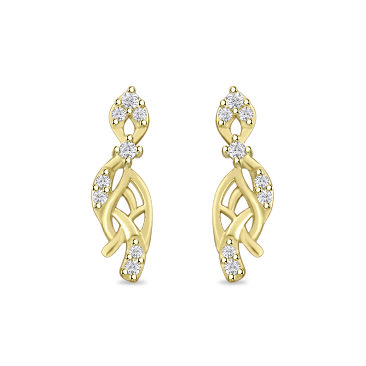Round Cut Cubic Zirconia Cluster Fashion Stud Earring for Women Girls 14k Gold Plated