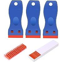 Laicky 3 Pack Plastic Razor Blade Scrapers + 100 Pack Plastic Vervanging Blades Stickers Decals Verf Labels Schraper…