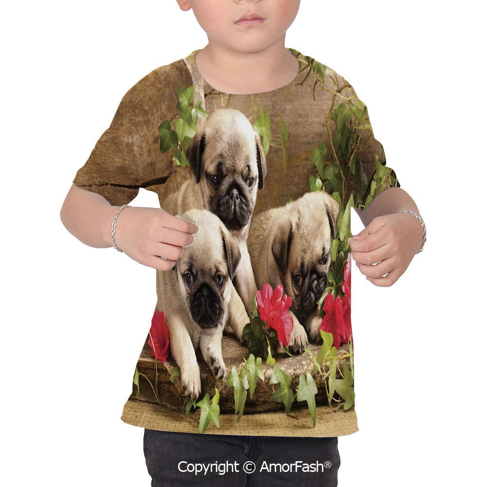 PUTIEN Pug Girls Short-Sleeve Midweight T-Shirt,Polyester,Cute Sibling Puppies with Flo