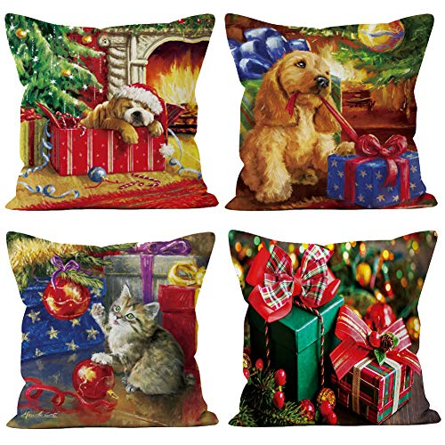 - Royalours Merry Christmas Series Cotton Linen Christmas Animal Dogs Cat Gift Decorative Throw Pillow Covers Cushion Case 18