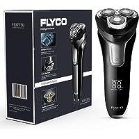 FLYCO Afeitadora Electrica Hombre FS377EU, Máquina de Afeitar Inteligente con Display Digital, Uso en Húmedo y Seco, Cerradura Inteligente con Funda de Viaje, Adaptador USB con Base de Carga