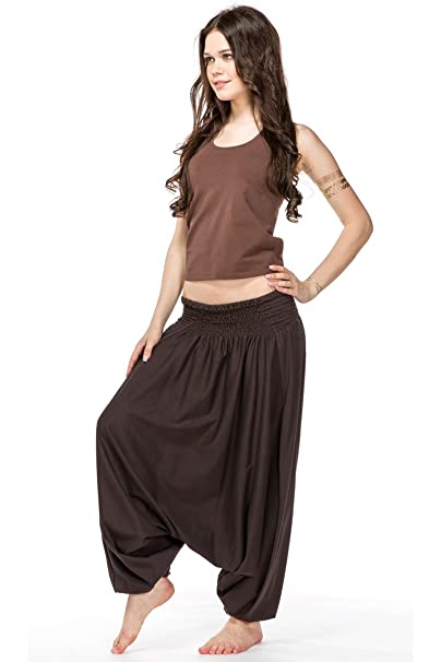 a96419bacbf6 IndiaStyle Brown Women Yoga Harem Pants for Women Loose Fit Festival Casual  Trousers