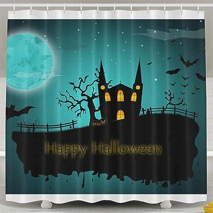 Amazon FVCXKM Personalized Shower Curtain Happy Halloween
