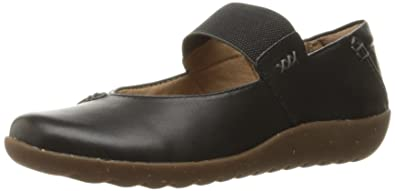 CLARKS Women's Medora Elie Mary Jane Flat, Black Leather, 6 ...