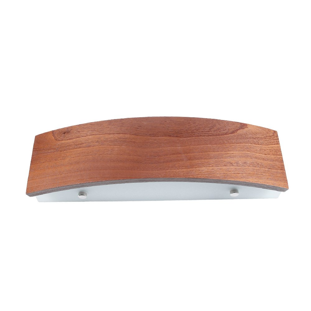 Wandleuchte Holz Meranti   Wandlampe LED 6W E27   Holzleuchte modern Wand   Holzlampe 41cm   Leuchte inkl. LED-Leuchtmittel   Wohnraumleuchte mit furnierter Holzblende