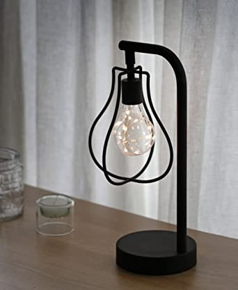 Vintage Cage Led Light Battery Industrial Table Light Wire Polygon ...