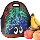 iColor Hedgehog Boys Girls Kids Neoprene Sleeve School Office Travel Outdoor Warm Thermal Waterproof Lunch Bag Tote Box Container Tote Pouch Food Carrying Insulated Holder W/ Handle Case