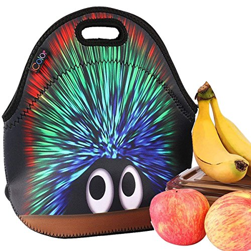 iColor Hedgehog Boys Girls Kids Neoprene Sleeve School Office Travel Outdoor Warm Thermal Waterproof Lunch Bag Tote Box Container Tote Pouch Food Carrying Insulated Holder W/ Handle -