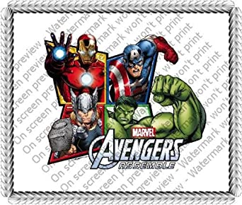1/4 Sheet ~ Avengers 4 Frame Birthday ~ Edible Image Cake ...