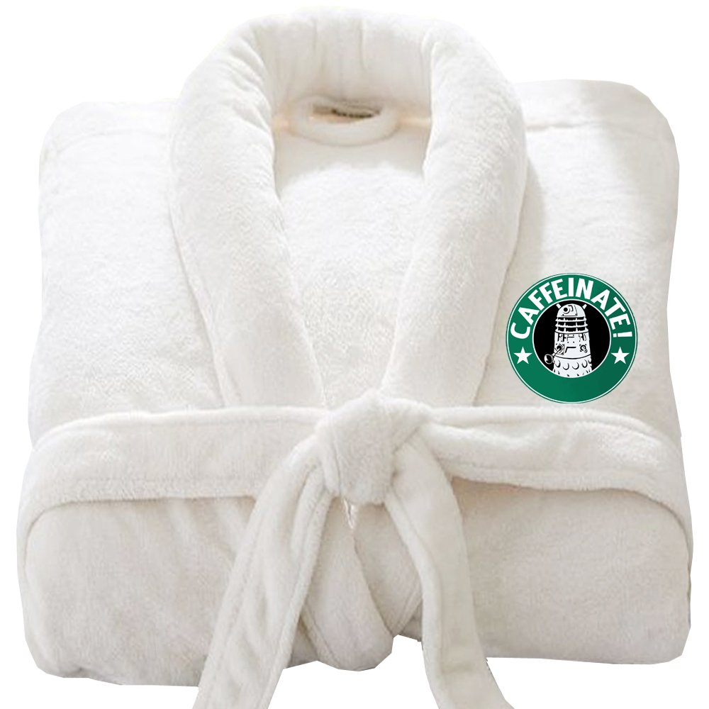CAFFINATE Darlek Bathrobe LOGO Embroidery on TERRY TOWEL 100% COTTON Terry Towel Bathrobes, terry bath robe, cotton mens and ladies bathrobe TERECAIFWHITELXL