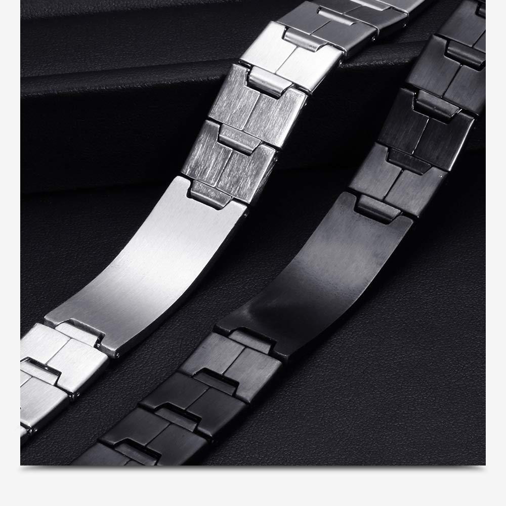 ZLLJH Men's Adjustable Thick Black Cross Bible Stainless Steel Bracelet, 18K Gold-Plated Stainless Steel and Black IP Stainless Steel Padre Nuestro Prayer ID Bracelet.