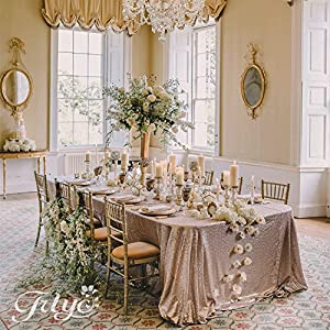 Delightful TRLYC 84 X 108 Inch Champagne Sequin Table Cloth