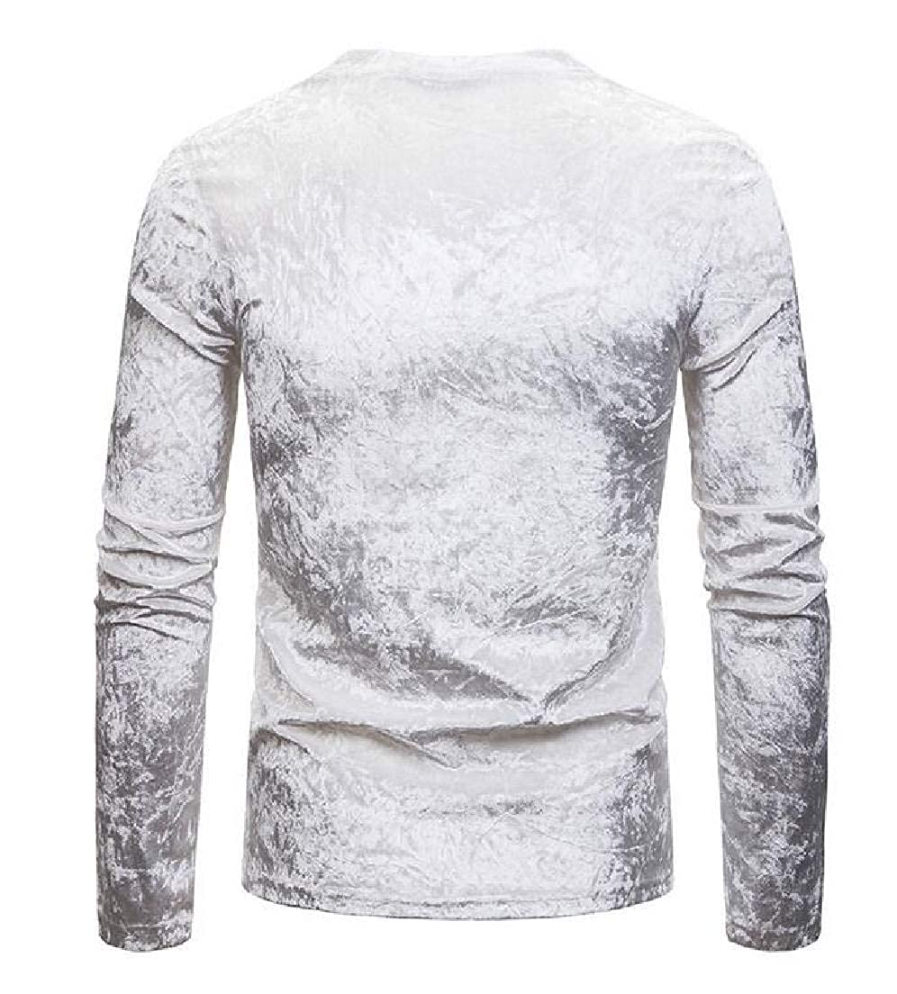 Zantt Men Long Sleeve Fashion Slim Flannel V-Neck Solid T-Shirt Tee
