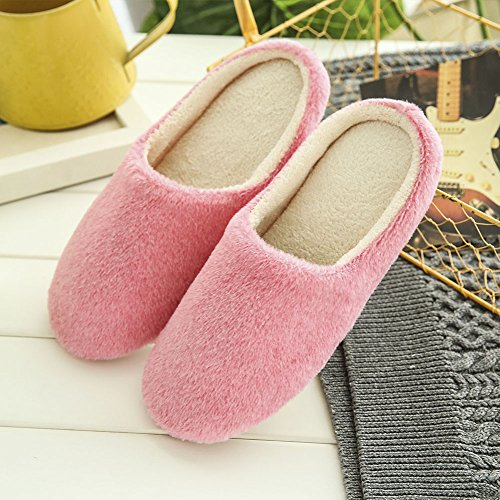 ESHOO Winter Warm Anti-slip Shoes Cozy Plush Fleece House Slippers Pink w9Y7yv5Xp