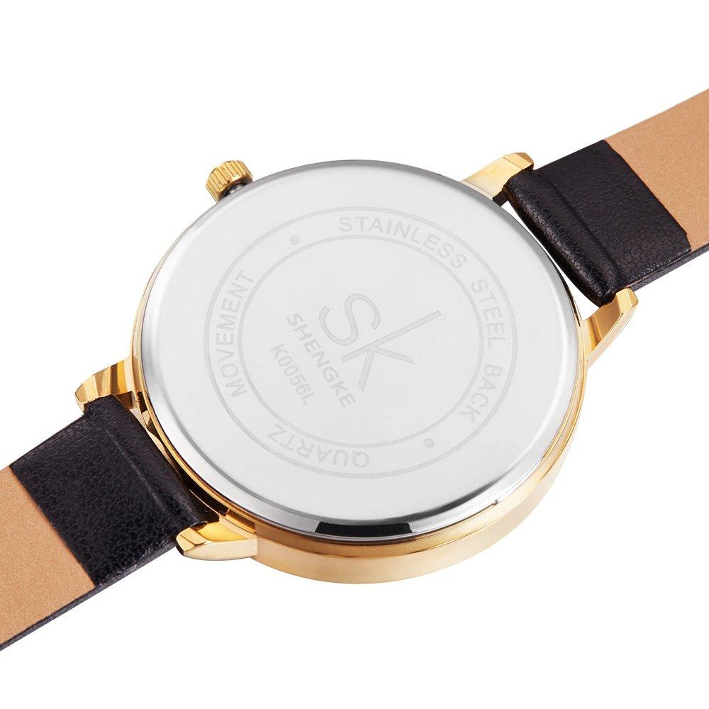 Amazon.com: SK Women Watches Leather Band Luxury Quartz Watches Girls Ladies Wristwatch (0056 Black): Watches
