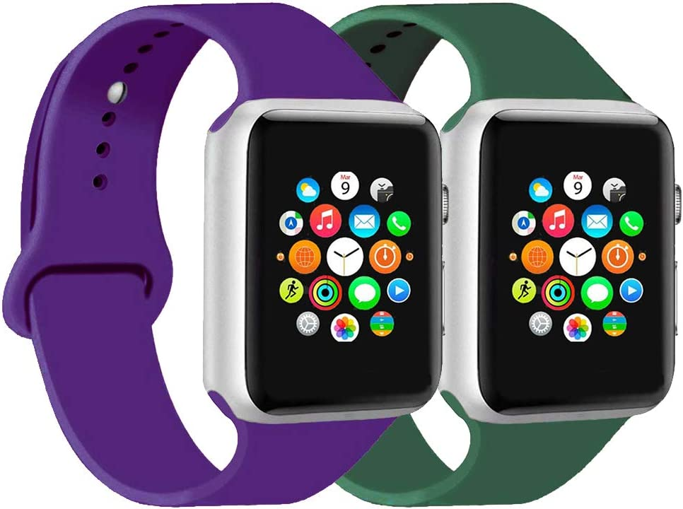 CoJerk Compatible for Apple watch Band 38mm 40mm 42mm 44mm,Replacement Band for iWatch Series 5/4/3/2/1 (Purple+Pine green, 42mm/44mm-ml)