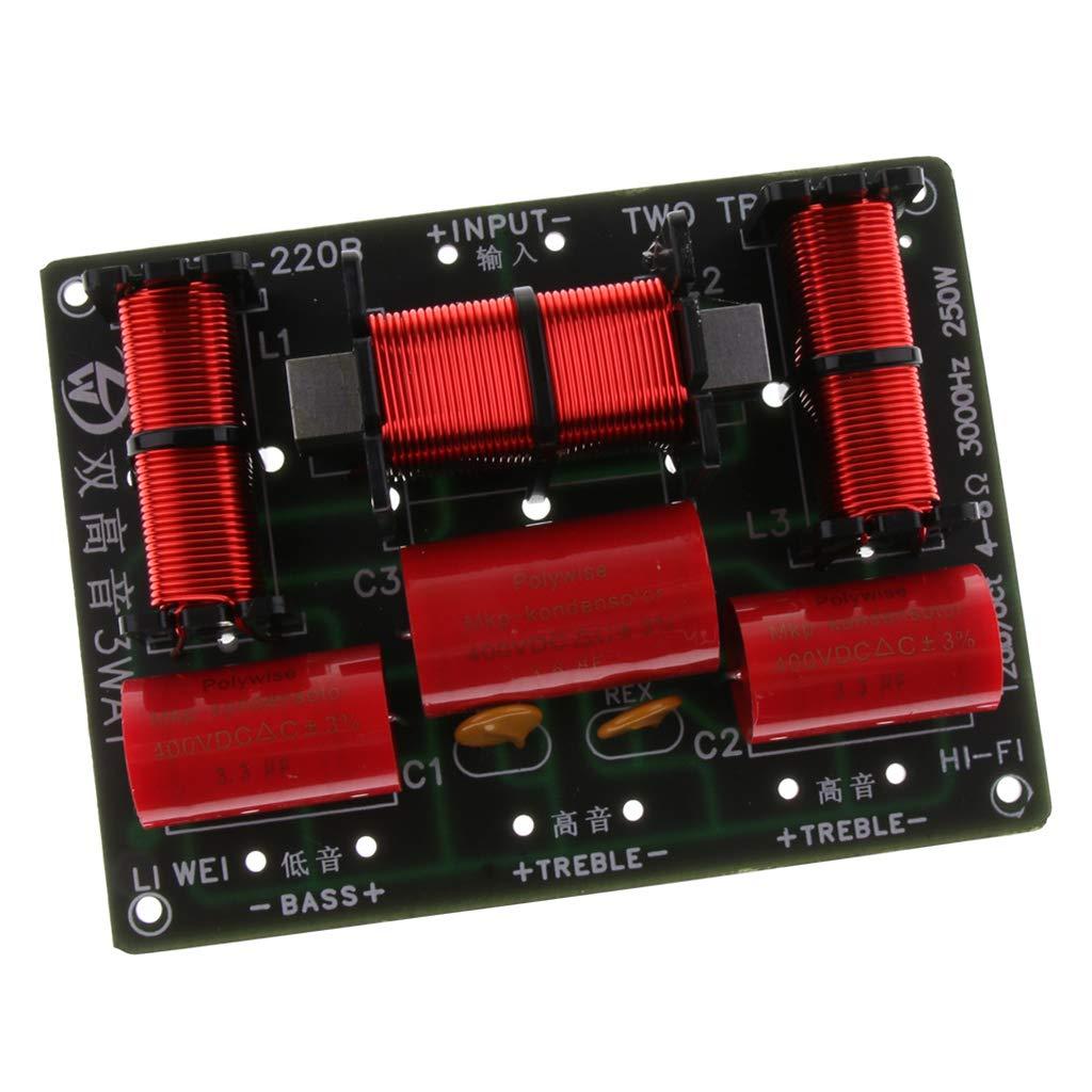 Baoblaze 3 Vías 250W Divisores de Frecuencia Filtro de Audio Cruce de Altavoz Repuestos para Altavoces