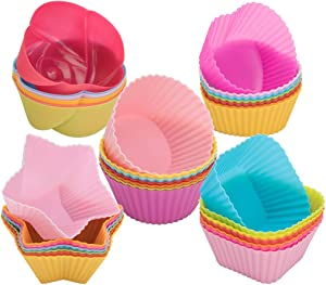 peinat Silicone Cupcake Baking Cups, 35PCS Silicone Muffin Liners 7 Colors Reusable Baking Cups Nonstick Silicone Cupcake Liners Round, Stars, Heart, Flowers Square Shaped Silicone Cupcake Molds
