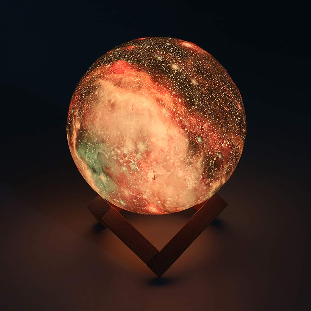BRIGHTWORLD Moon Lamp, 3D Moon Light with Wooden Stand Rechargeable Moon Lamp Night Light Lamp 16 LED Colors Remote Touch Control Dimmable Decorative Moon Light for Baby Kids Birthday Party (5.9 inch) by BRIGHTWORLD (Image #6)