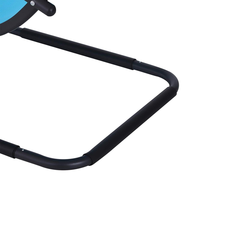 Outsunny Sedia Sdraio da Giardino Design Ergonomico Poggiatesta Rimovibile in Tessuto per Esterni 150x63x89cm Azzurro