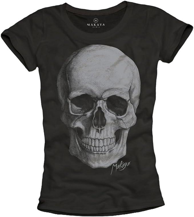 Makaya T-Shirt Tête De Mort Femme Skull Top