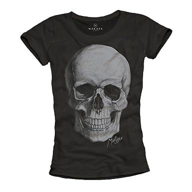 a0a9408618d Makaya T-Shirt Tête De Mort Femme Skull Top Noir S M L  Amazon.fr   Vêtements et accessoires