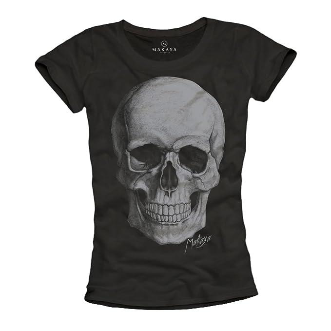 Camisetas Calaveras Mujer - Negra L