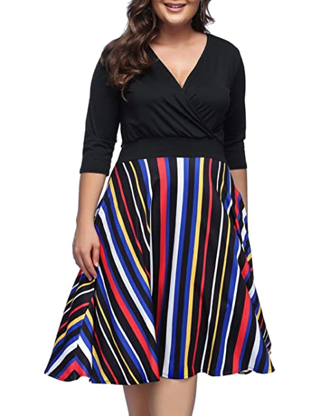 JOYMODE Plus Size Dresses Striped V Neck Casual Dress Patchwork Knee Length  Dress