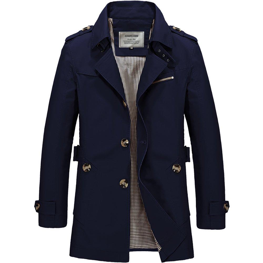 DAVID.ANN Men's Windbreaker Notch Lapel Single Breasted Coat,Dark Blue,Medium