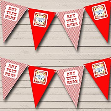 Big Spots And Stripes Red Personalised Carnival Fete Street Party Bunting Banner