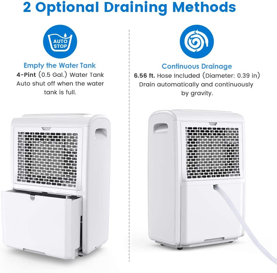 Inofia 70 Pint Dehumidifiers for HomeBasementsBathroomLarge Room up to 4,000 Sq Ft, Portable dehumidifier with Drain HoseLaundry ModeCaster