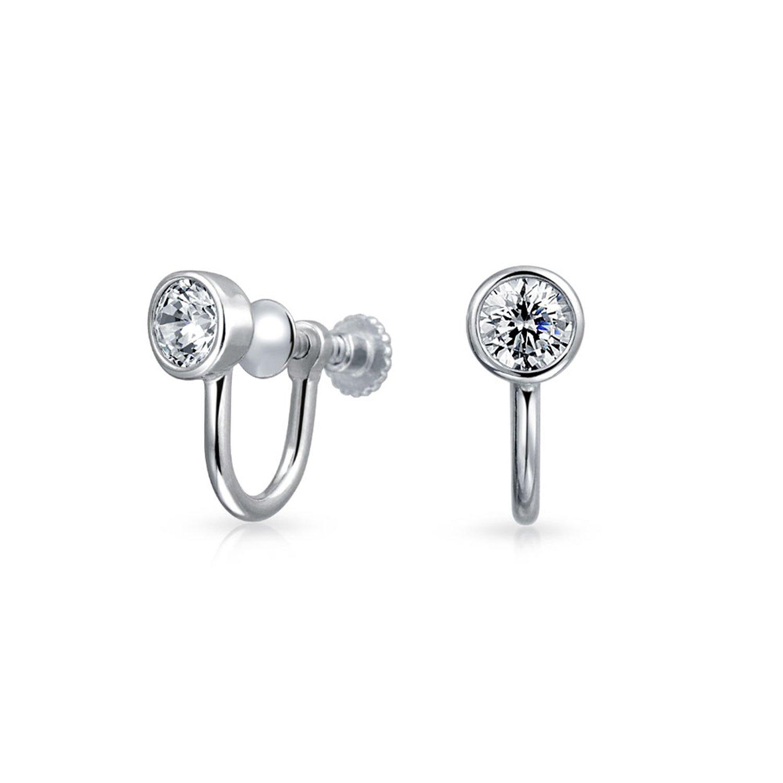 925 Silver 3.5mm CZ Bezel Round Screw Back Clip On Earrings