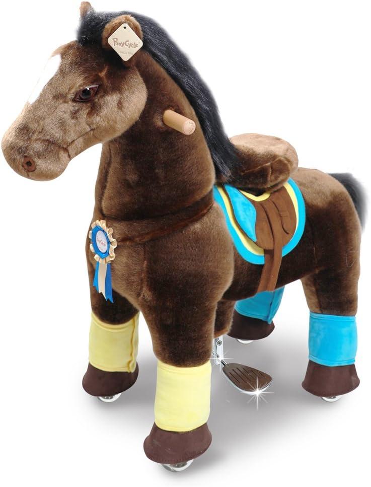 PonyCycle Oficial Primo K Serie Paseo a caballo Juguete Felpa Caminando Animal caballo marrón oscuro para 4-9 años tamaño pequeño K45