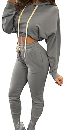 135f21c078c25c Women 2 Piece Set Sweatsuits Long Sleeve Bodycon Outfits Jumpsuit Casual Crop  Top Sweatpants Tracksuit at Amazon Women s Clothing store