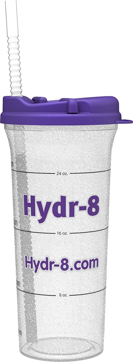 16d032b4f7 Amazon.com: Hydr-8 32oz. Car Friendly Time Marked Water Bottle Purple:  Kitchen & Dining