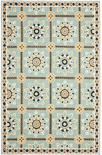 Safavieh Easy to Care Collection EZC711B Hand-Hooked Light Blue and Dark Blue Area Rug 8 x 10