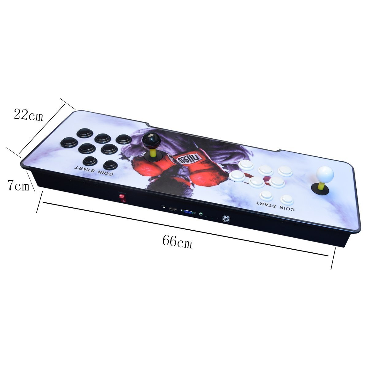 【2400 Games in 1】 Arcade Game Console Ultra Slim Metal Double Stick 2400 Classic Arcade Game Machine 2 Players Pandoras Box 6S 1280X720 Full HD Video Game Console for Computer & Projector & TV by TanDer (Image #2)
